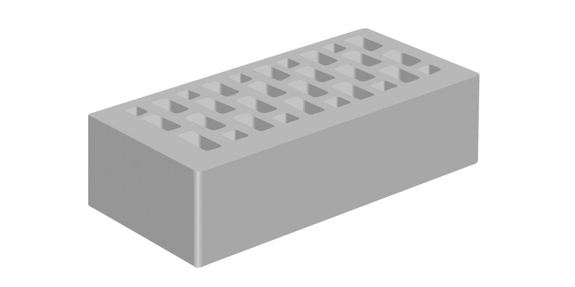 Кирпич облицовочный Голицынский Серый, Гладкий 1НФ
