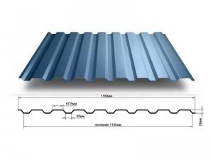 Профнастил МП-20, 1150*2000, 0,5мм PVDF